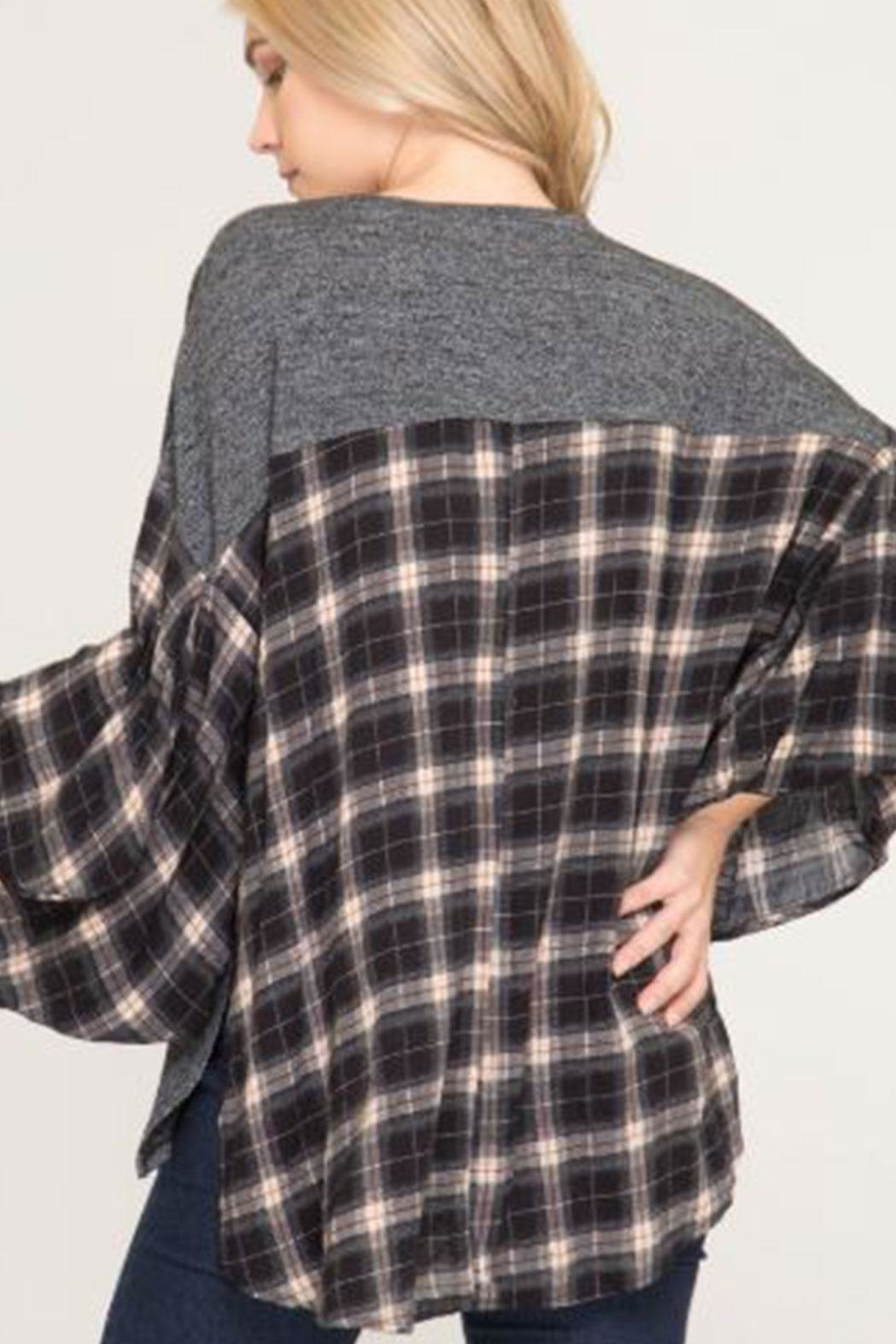 She + Sky Bubble-Sleeve Plaid Top - Front Full Image