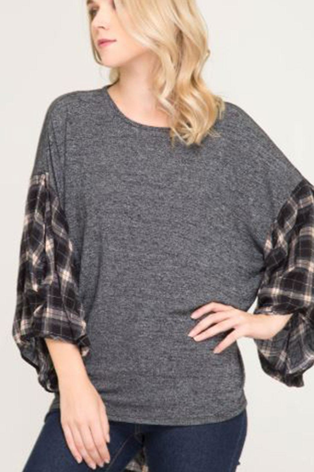 She + Sky Bubble-Sleeve Plaid Top - Main Image
