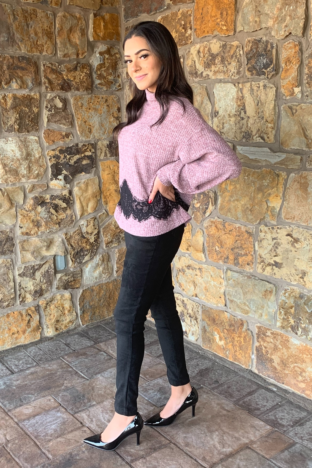 COA Bubble Sleeve Soft Sweater w Lace Detail - Front Full Image
