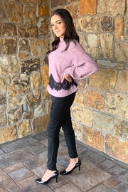 COA Bubble Sleeve Soft Sweater w Lace Detail - Front full body