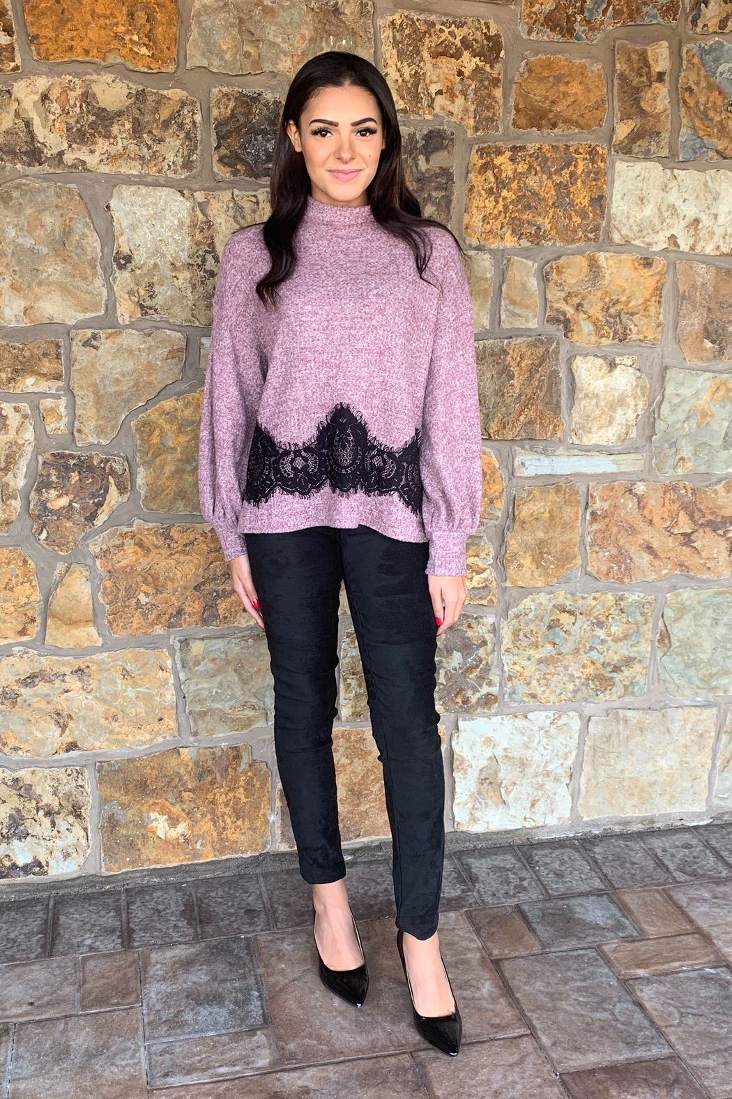 COA Bubble Sleeve Soft Sweater w Lace Detail - Back Cropped Image