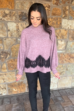 COA Bubble Sleeve Soft Sweater w Lace Detail - Product List Image