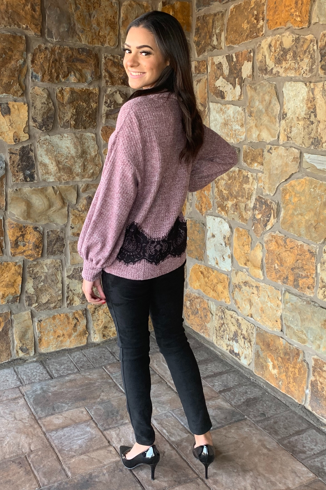 COA Bubble Sleeve Soft Sweater w Lace Detail - Side Cropped Image