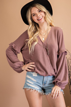 143 Story Bubble Sleeve Surplice Top - Product List Image