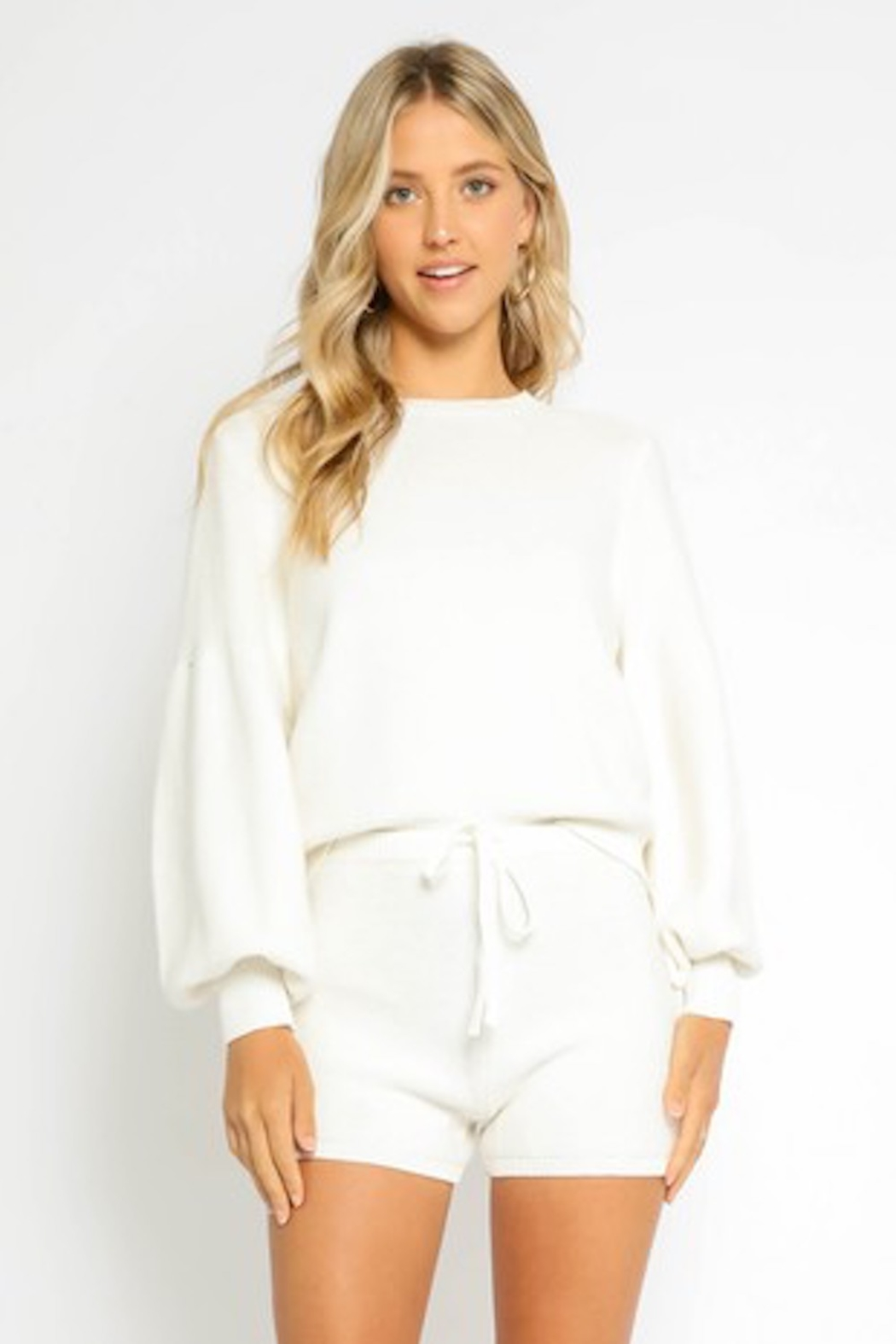 Olivaceous  Bubble Sleeve Sweater - Front Full Image