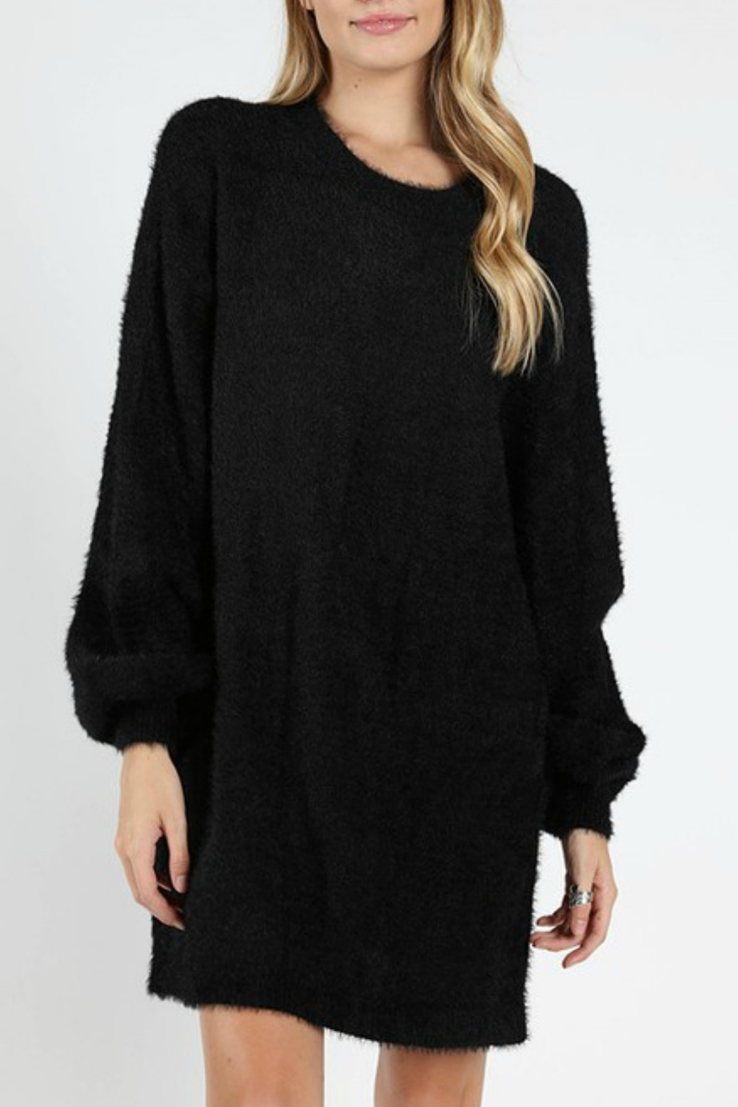 Wild Honey Bubble Sleeve Sweater Dress - Front Cropped Image
