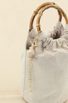 Shoptiques Product: Bucket Bag with Starfish & Shell Tassel