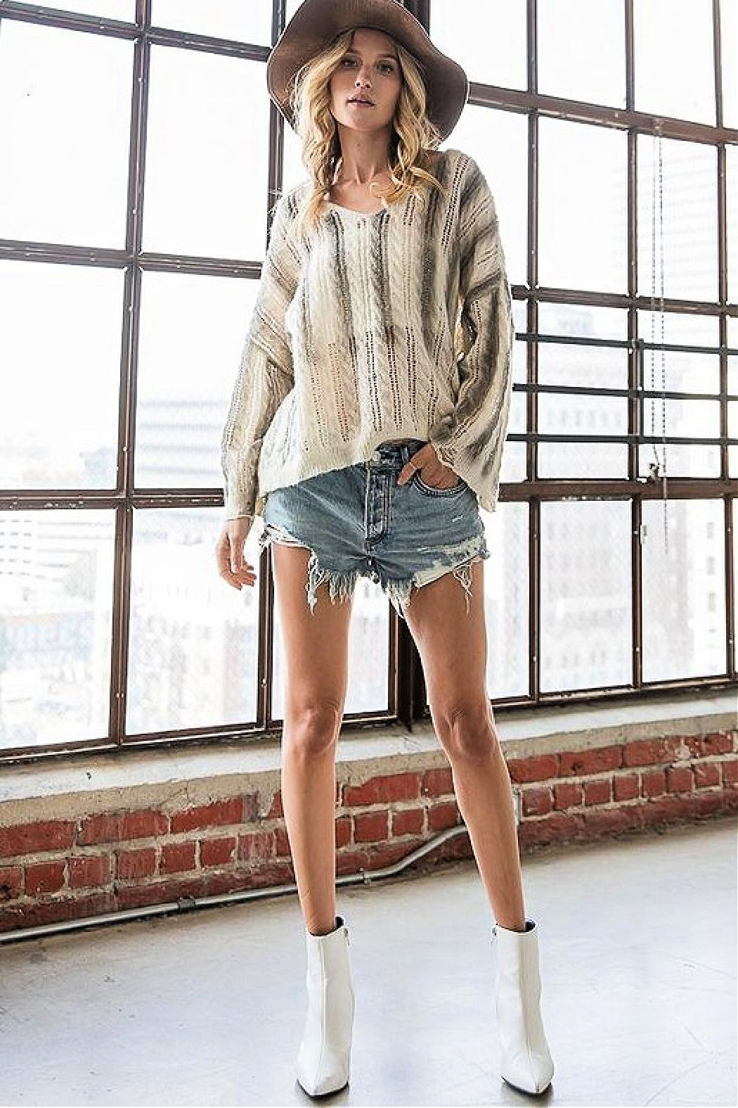 Bucketlist Destroyed Cable-Knit Pointelle-Sweater - Front Full Image