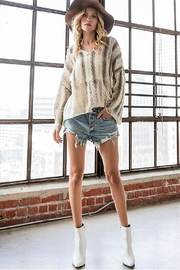 Bucketlist Destroyed Cable-Knit Pointelle-Sweater - Front full body
