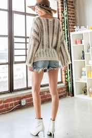 Bucketlist Destroyed Cable-Knit Pointelle-Sweater - Side cropped