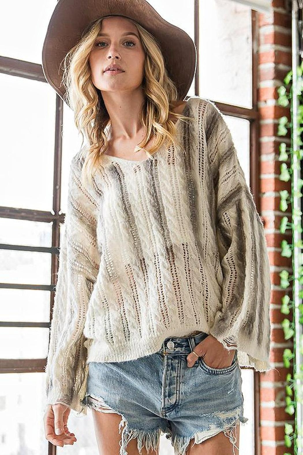 Bucketlist Destroyed Cable-Knit Pointelle-Sweater - Main Image