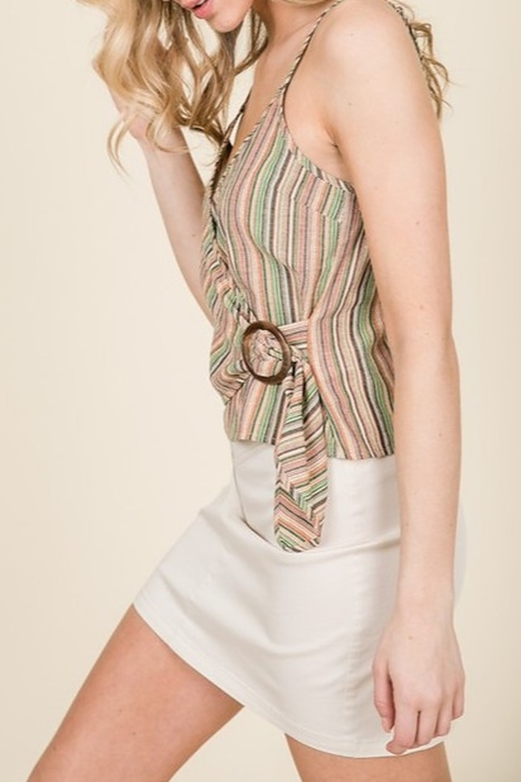 Lumiere Buckle Detail Wrap Tank - Side Cropped Image