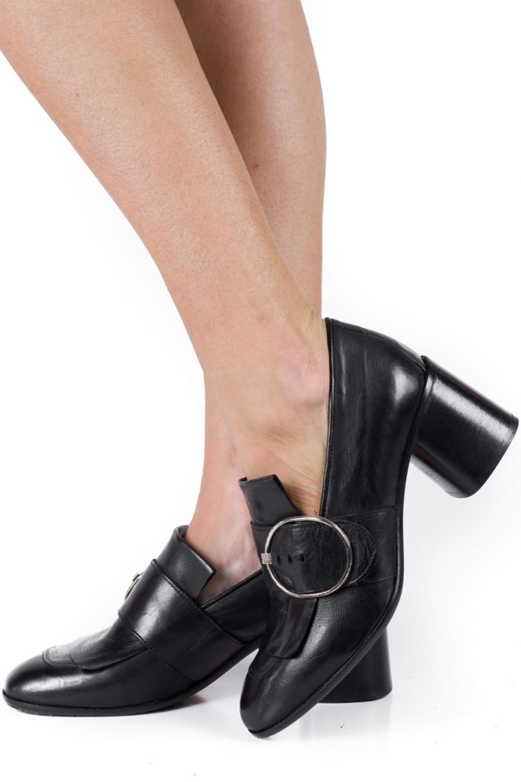 Keep Buckle Heeled Loafer - Back Cropped Image