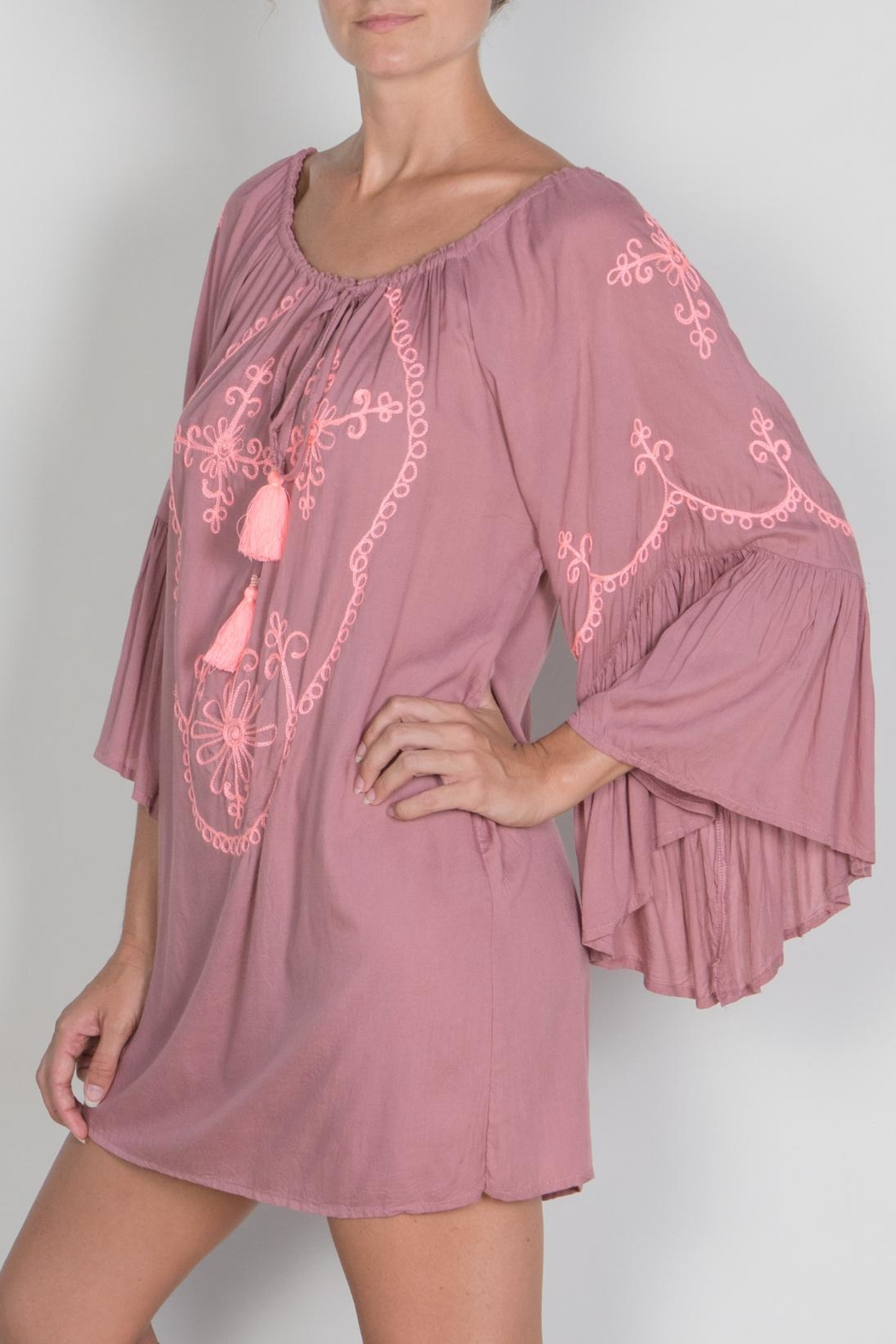 Buddha Sayulita Camila Embroidered Dress - Front Full Image