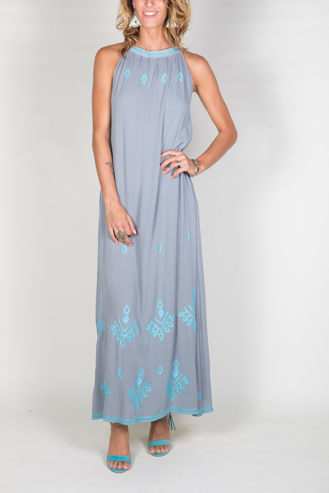 Buddha Sayulita Stella Long Dress - Front Cropped Image