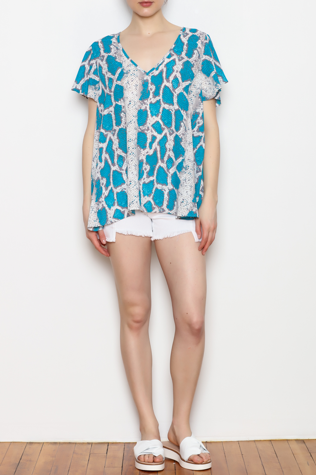 Buddy Love Python Print Top - Front Full Image