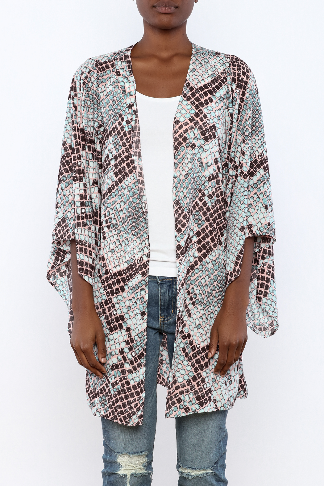 Buddy Love Snake Printed Kimono - Side Cropped Image
