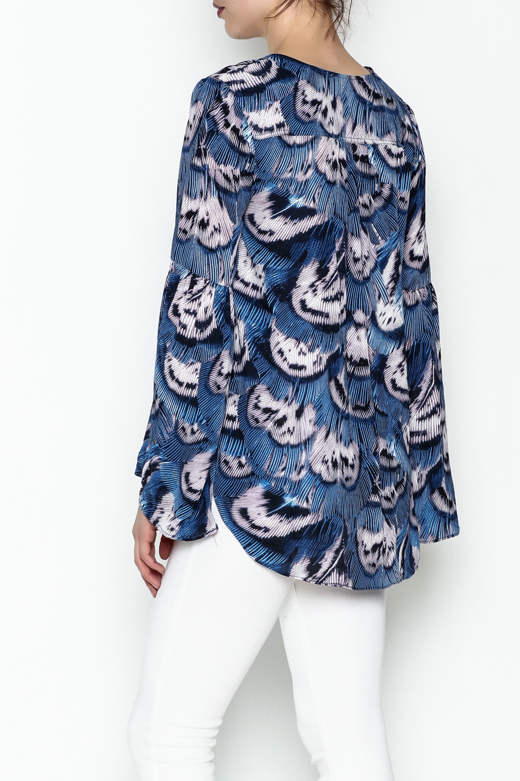 Buddy Love Peacock Printed Blouse - Back Cropped Image