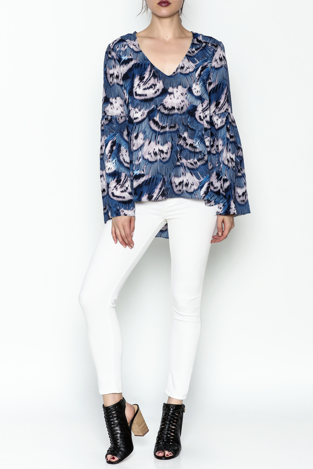 Buddy Love Peacock Printed Blouse - Side Cropped Image