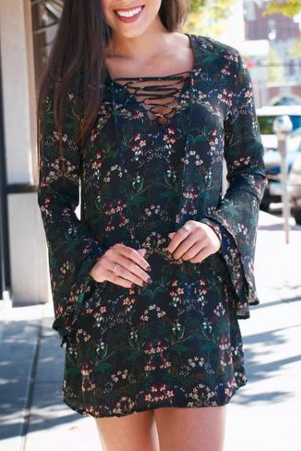 Buddy Love Floral Lace-Up Dress - Side Cropped Image