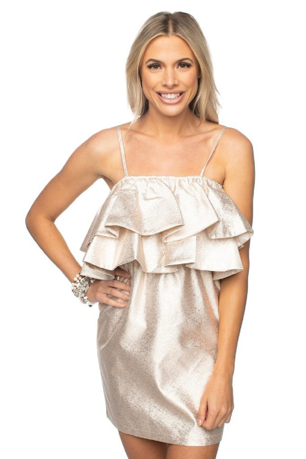 Buddy Love Gold Ruffle Dress - Front Cropped Image