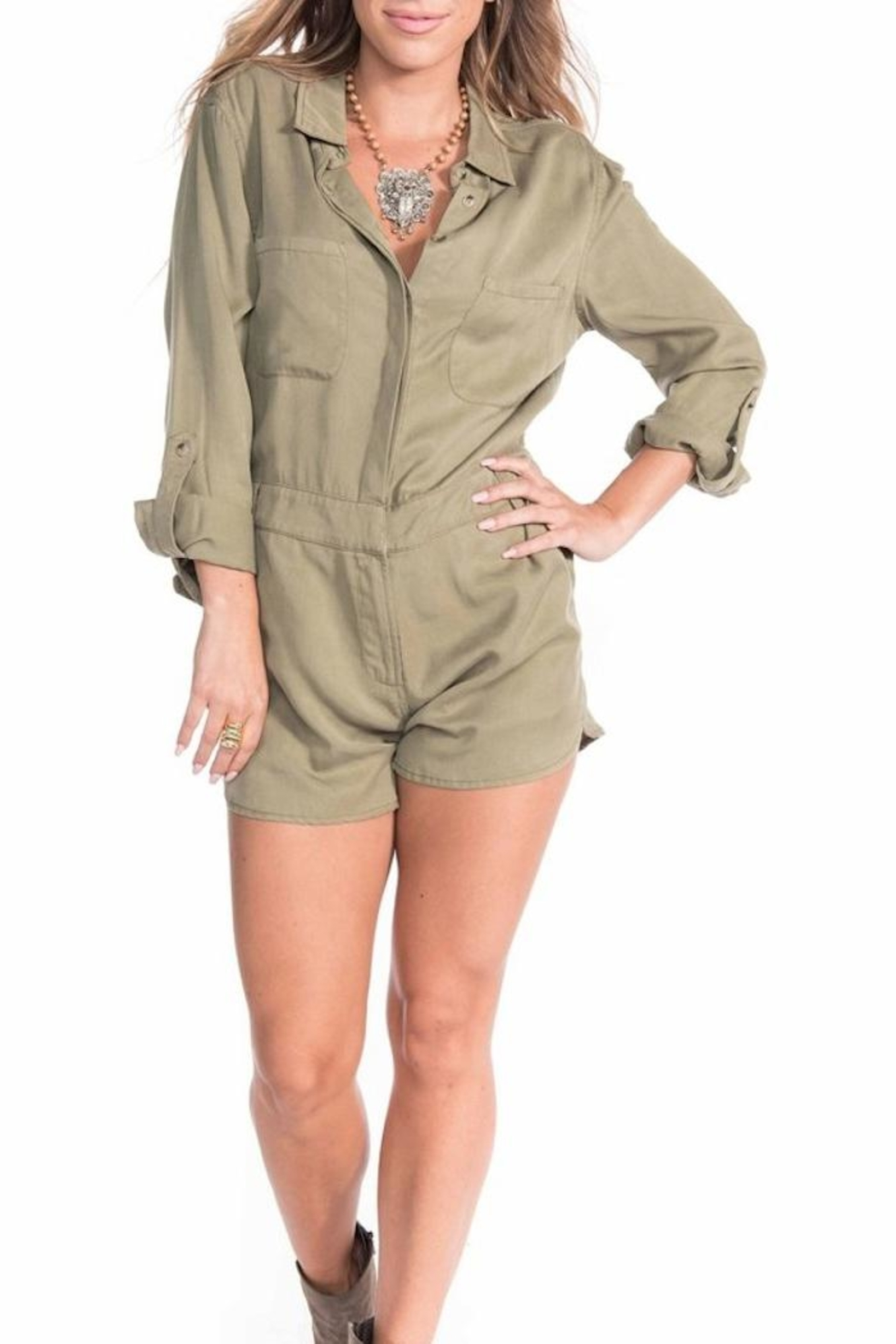 Buddy Love Military Romper - Front Cropped Image