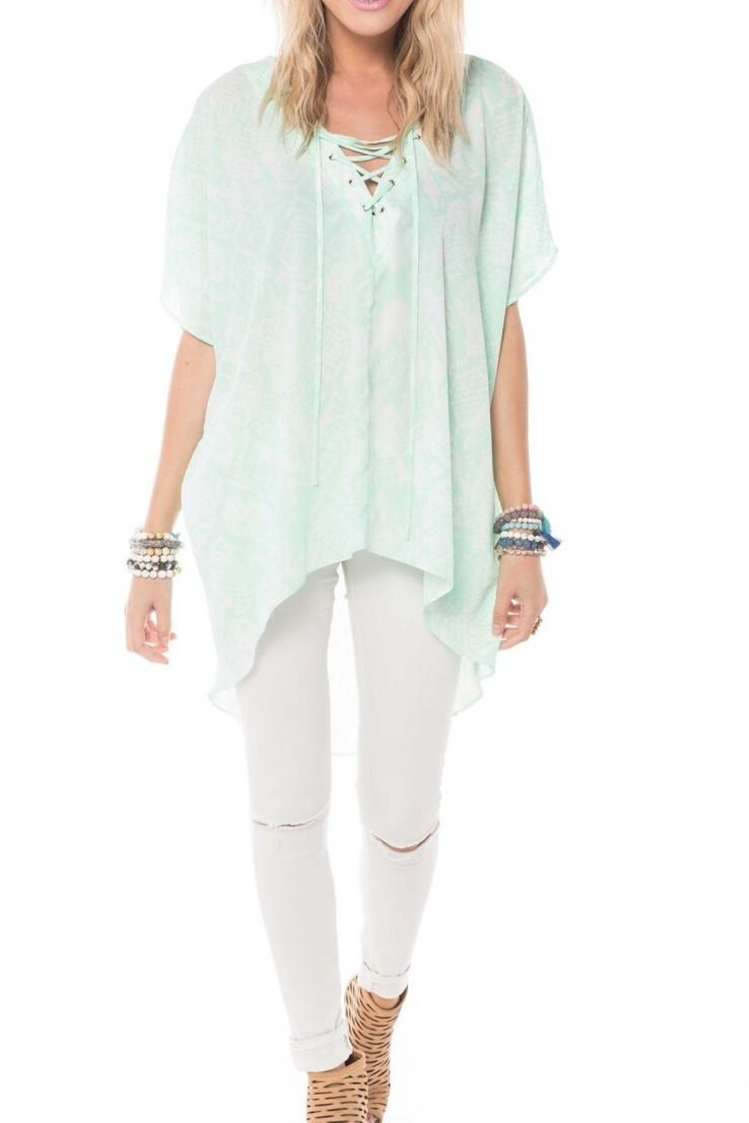 Buddy Love Mint Snake Tunic - Front Cropped Image