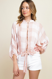 MONTREZ BUFFALO CHECK BUTTON UP BLOUSE TOP - Product Mini Image