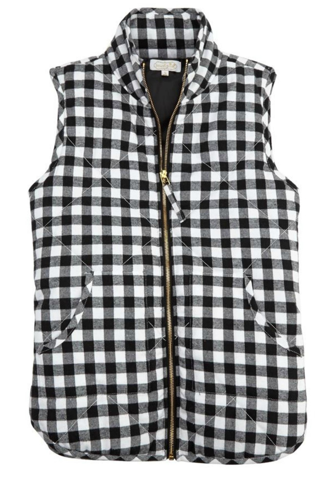 Mud Pie Buffalo Check Vest - Front Cropped Image