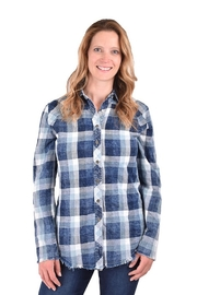 True Blue  Buffalo Plaid Blouse - Product Mini Image