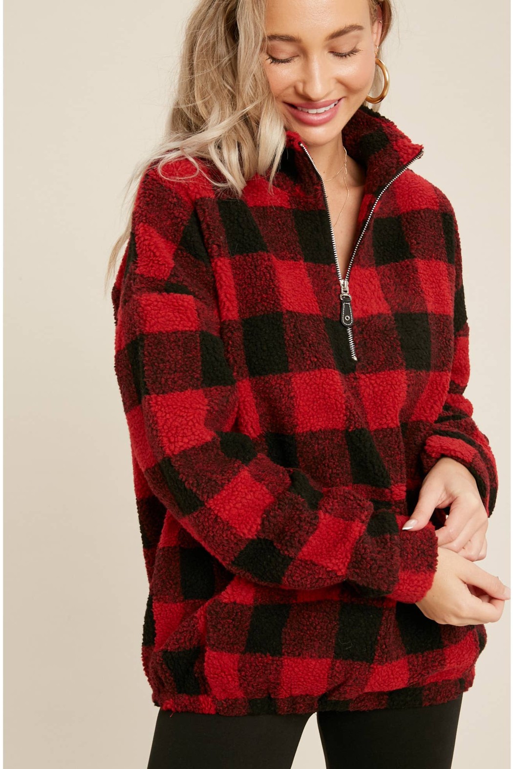Bluivy Buffalo Plaid Pullover - Back Cropped Image