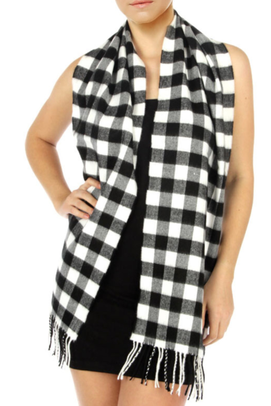 NY Collection Buffalo plaid scarf - Front Cropped Image