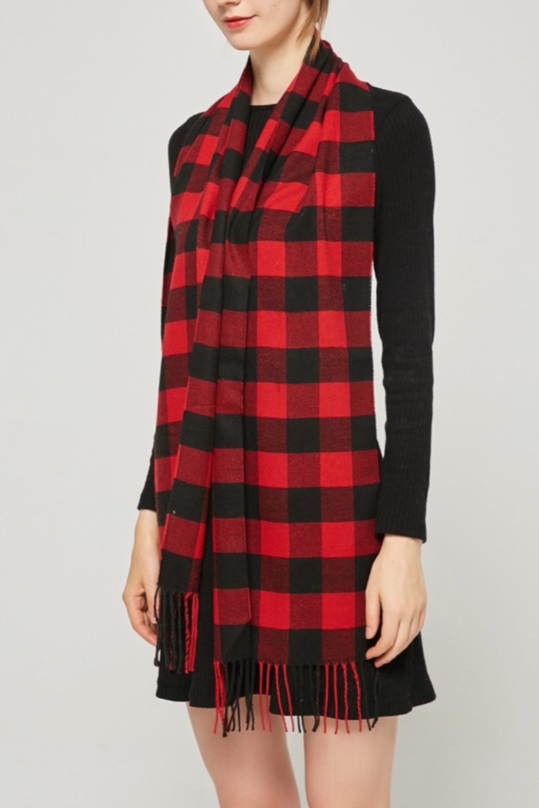 NY Collection Buffalo plaid scarf - Front Full Image