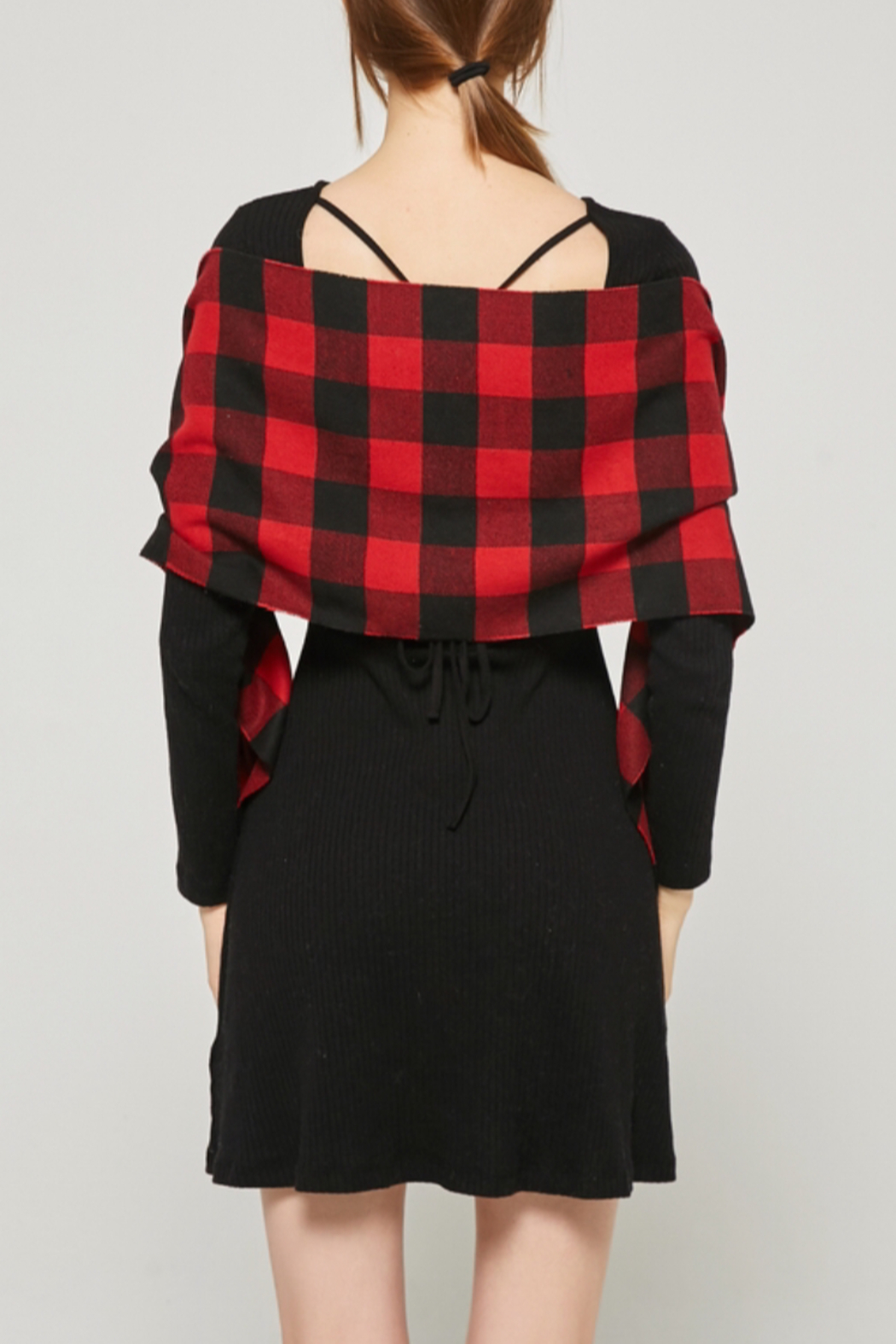 NY Collection Buffalo plaid scarf - Side Cropped Image
