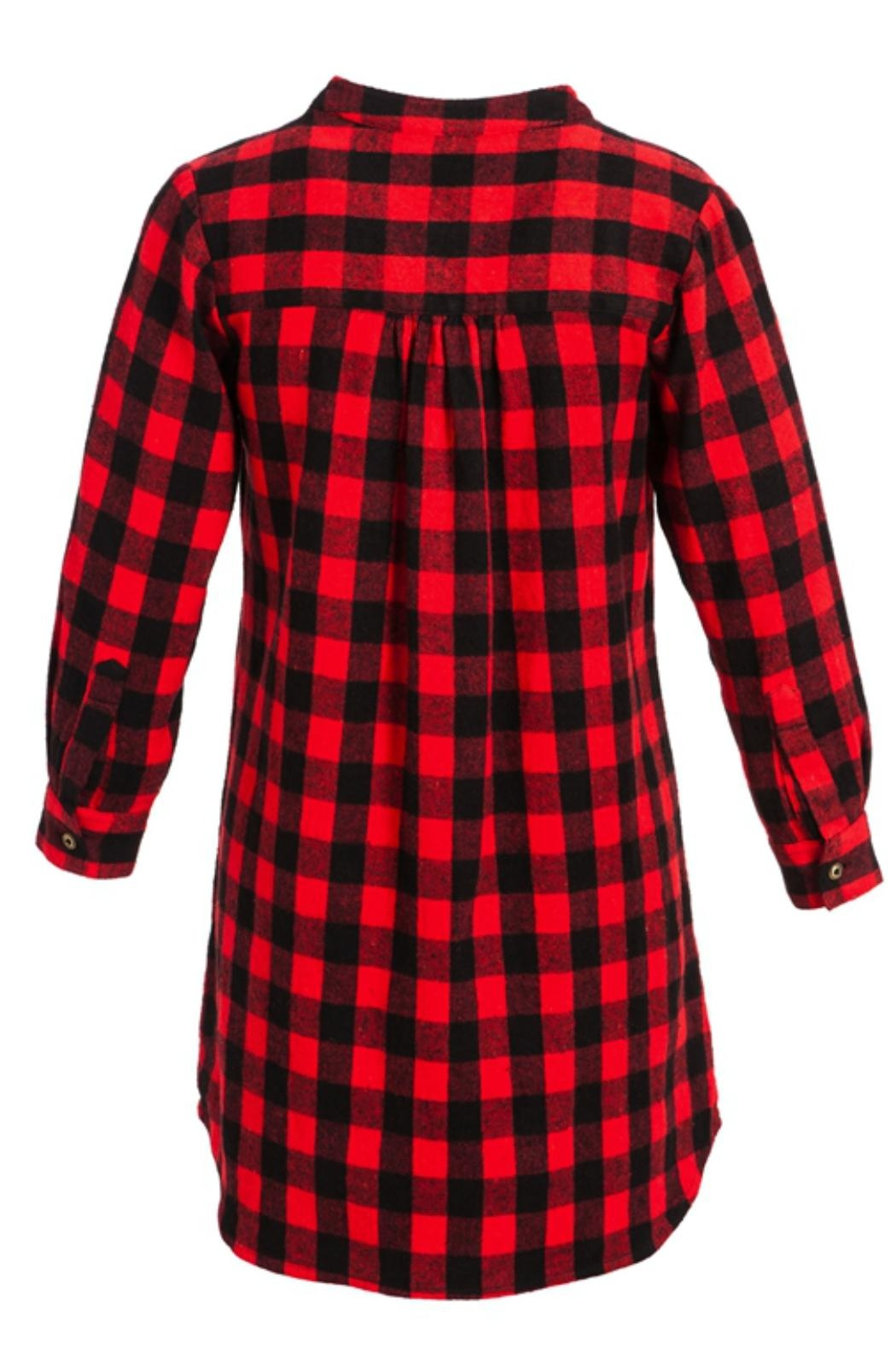 Evergreen Enterprises Buffalo Plaid Shirtdress - Side Cropped Image