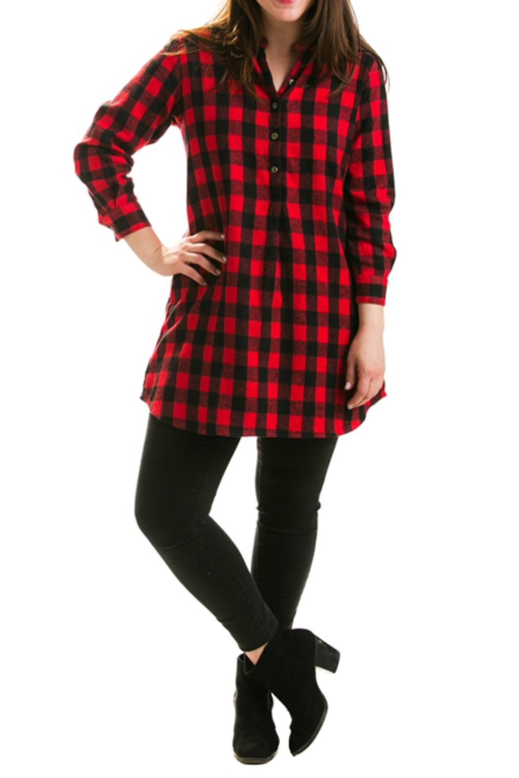 Evergreen Enterprises Buffalo Plaid Shirtdress - Front Cropped Image