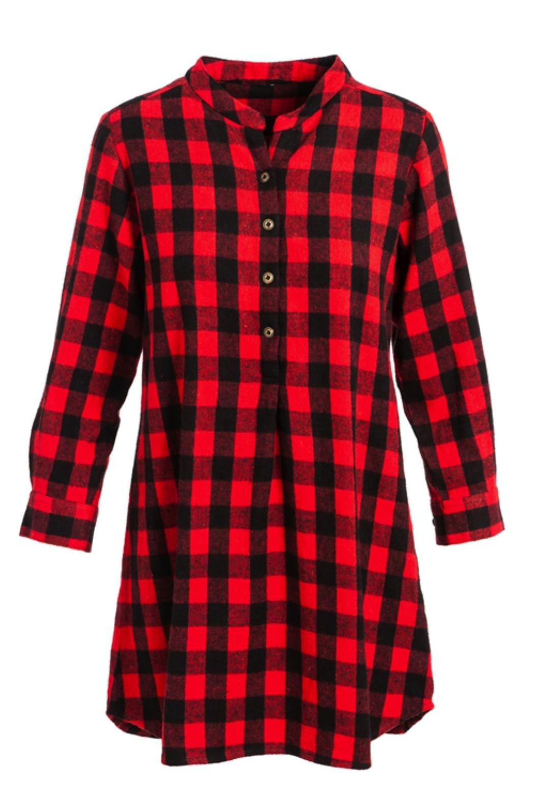 Evergreen Enterprises Buffalo Plaid Shirtdress - Front Full Image