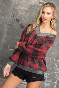 143 Story Buffalo Plaid V Neck Pullover Top - Product List Image