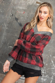 143 Story Buffalo Plaid V Neck Pullover Top - Front cropped