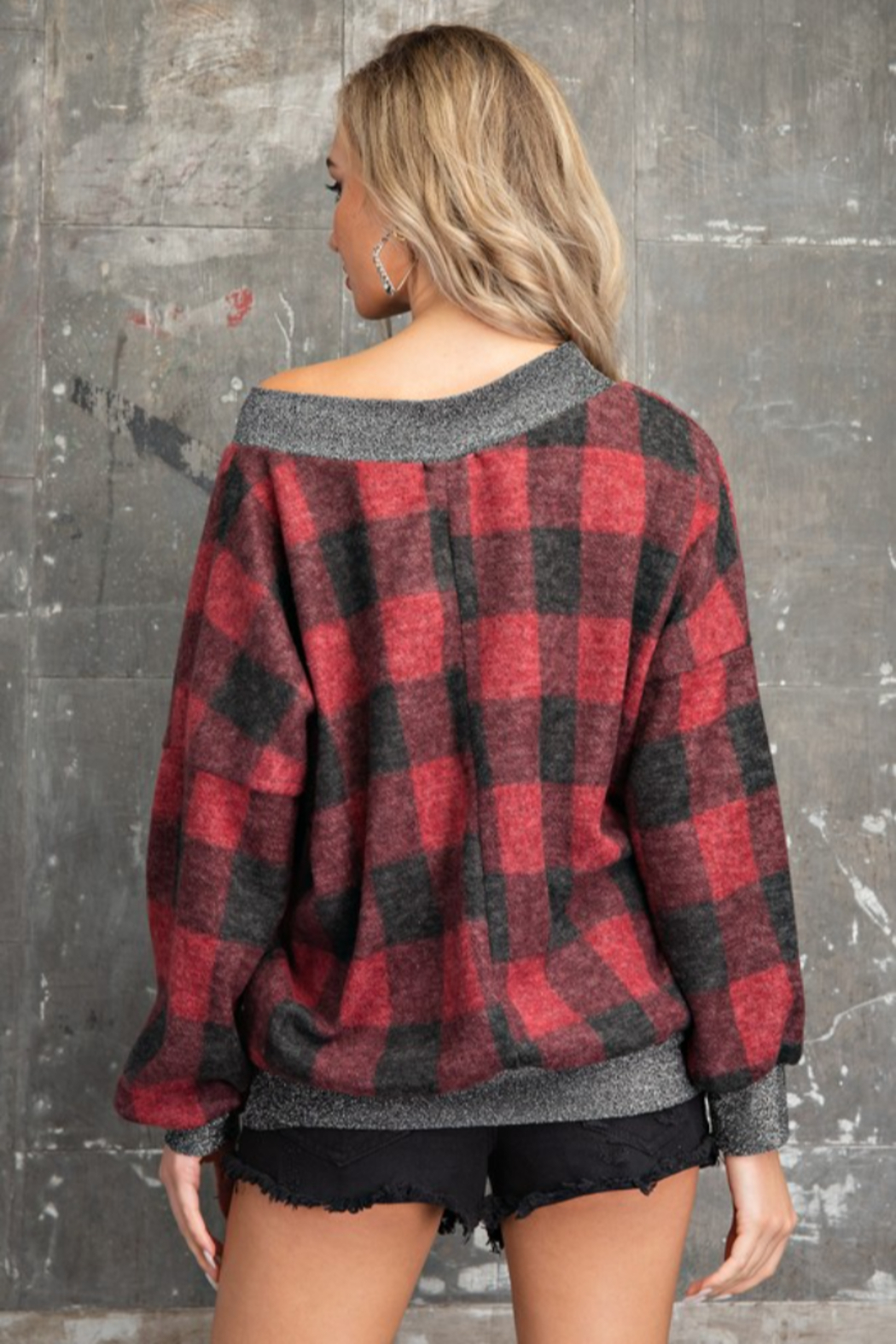 143 Story Buffalo Plaid V Neck Pullover Top - Back Cropped Image