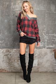 143 Story Buffalo Plaid V Neck Pullover Top - Side cropped