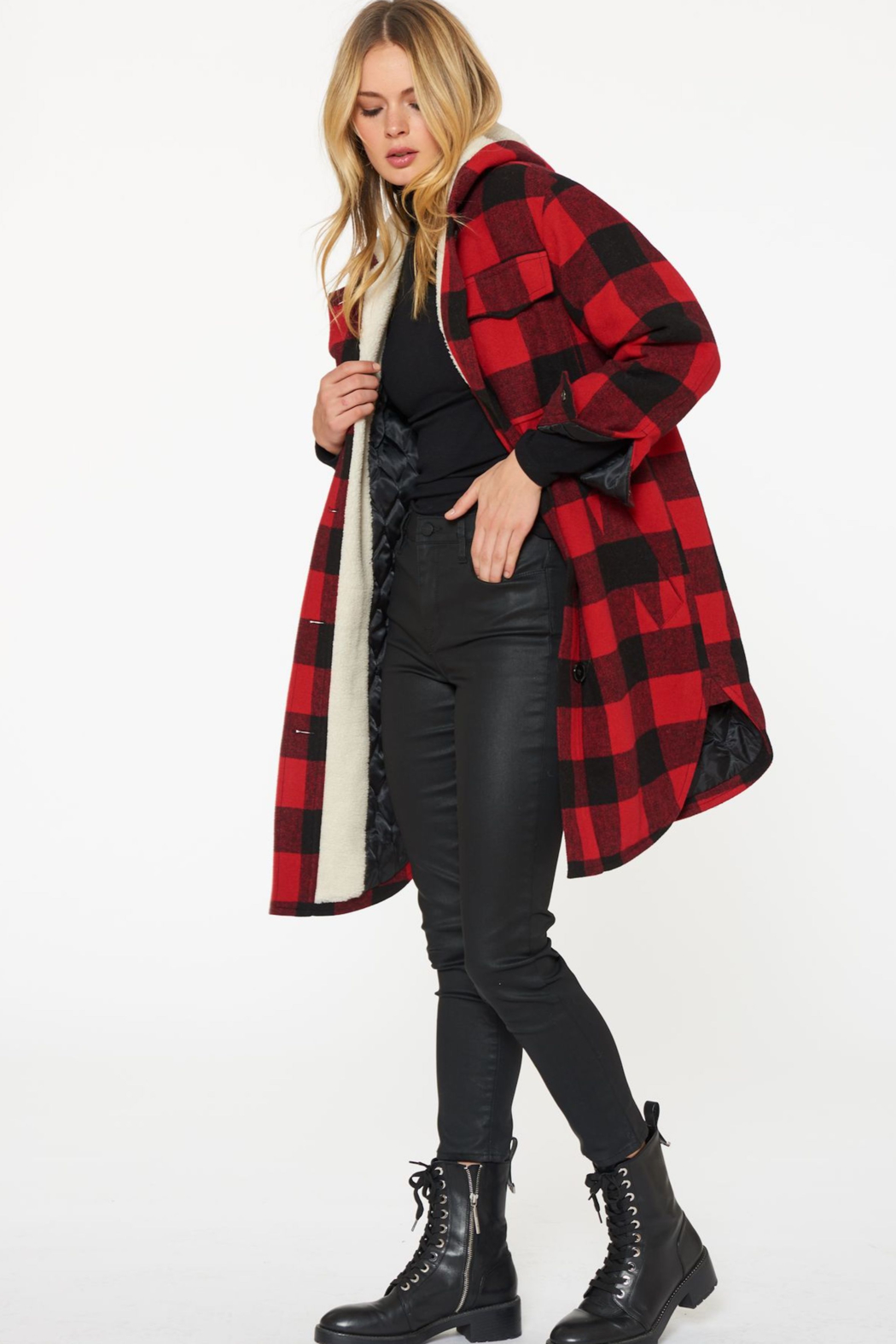 Sanctuary Buffalo-Plaid Wool Coat - Side Cropped Image