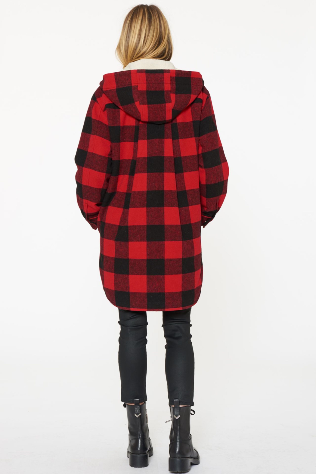 Sanctuary Buffalo-Plaid Wool Coat - Front Full Image