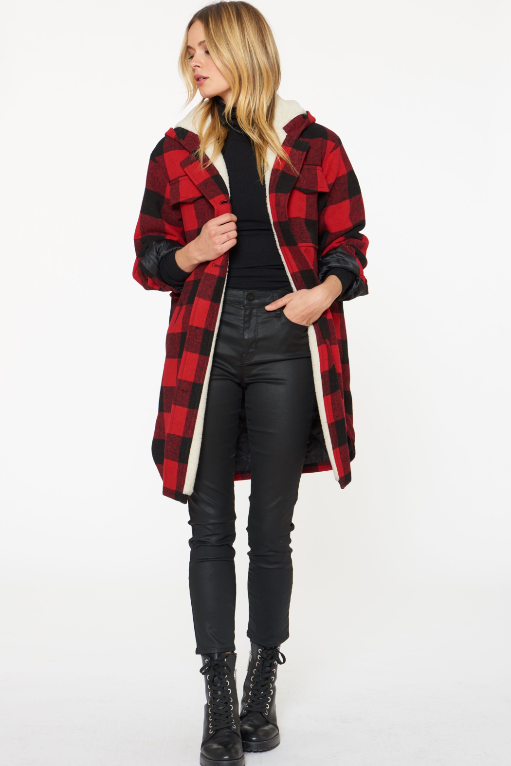 Sanctuary Buffalo-Plaid Wool Coat - Main Image
