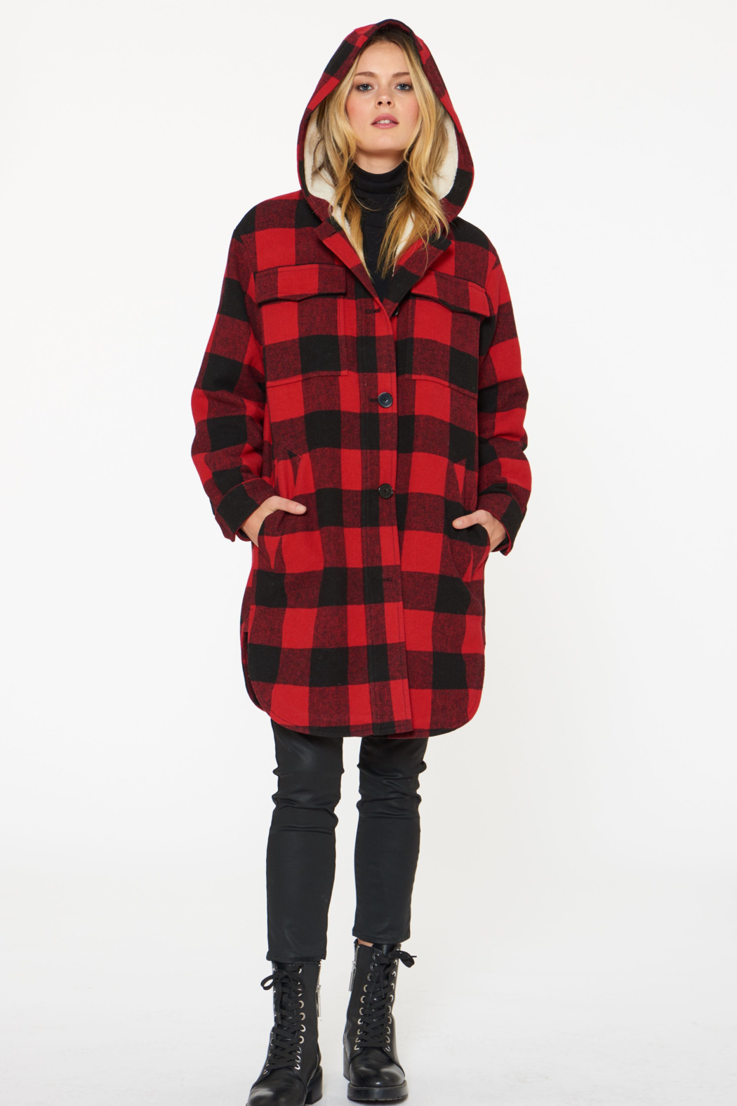 Sanctuary Buffalo-Plaid Wool Coat - Back Cropped Image