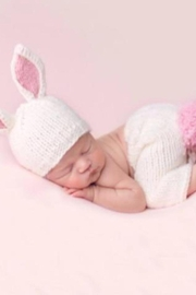The Blueberry Hill Bunny hand-knit newborn set - Front full body