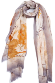 Blue Pacific Burgundy Art Scarf - Front full body