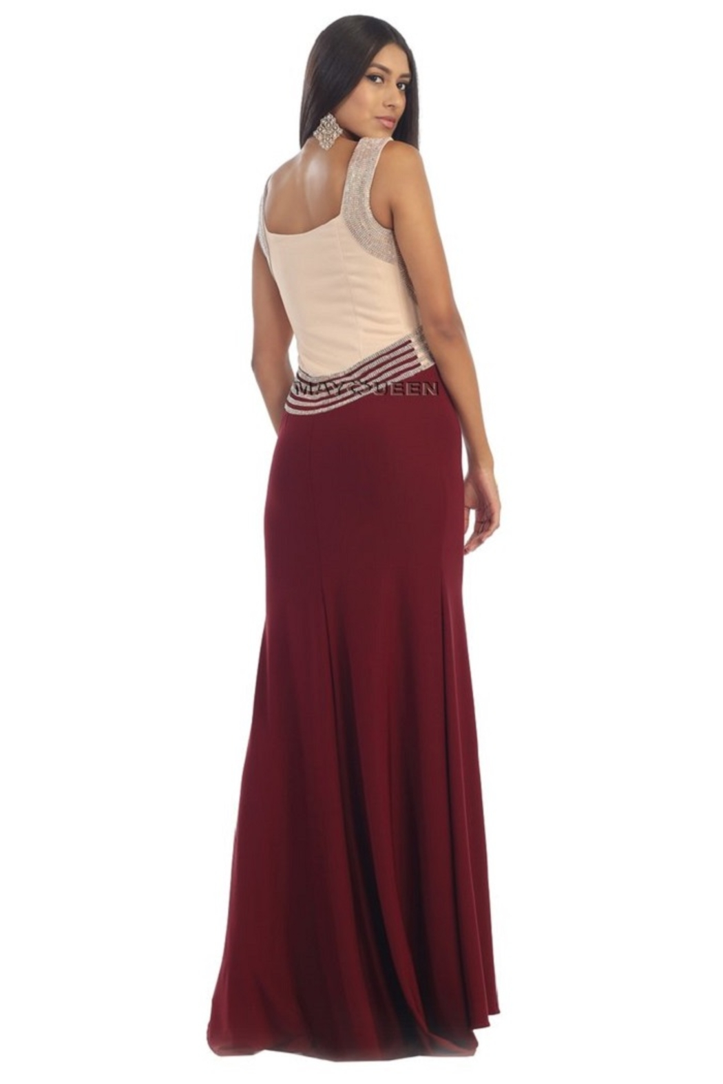 May Queen  Burgundy Beaded Sheath Formal Long Dress - Front Full Image