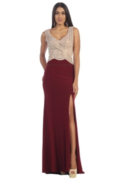 May Queen  Burgundy Beaded Sheath Formal Long Dress - Product List Image