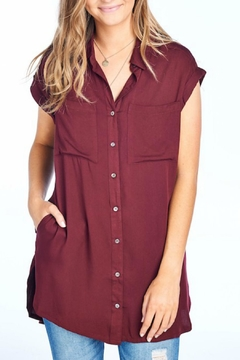 BD Collection Burgundy Button Top - Product List Image